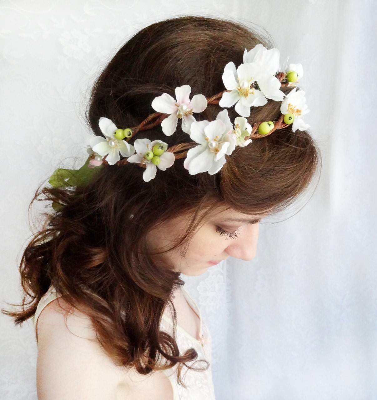 Flower Wedding Headpieces: Floral Crown Rustic Wedding Headpiece White Bridal Hair