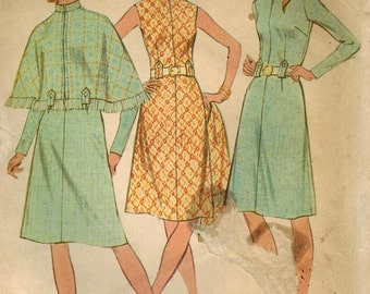 1970s McCall's 3115 Vintage Sewing Pattern Misses' Half Size Dress and Cape Size 18-1/2 Bust 41