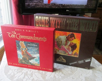 Gone with the Wind VHS and Ten Commandments Collectors Edition MGM anniversary set Vintage Boxed library coffee table display