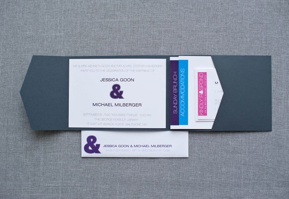 Custom Listing for wflairty - Gray, Purple, Turquoise and Pink Modern Ampersand Pocket Wedding Invitation -Jessica and Michael
