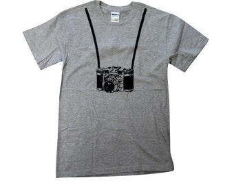 Mens Camera T shirt - Camera and Strap  T Shirt (Available in sizes S, M, L, XL)