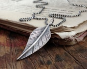 RESERVED for Katrina ~ sterling silver distressed leaf necklace ~ inspired by nature, meant to inspire ~ DARE