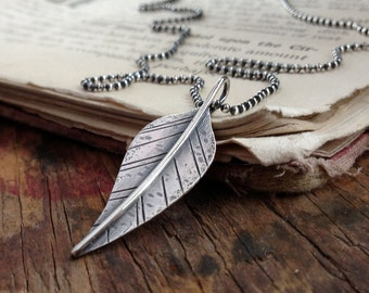 sterling silver distressed leaf pendant necklace ~ Dare, 18 inches ~ READY TO SHIP