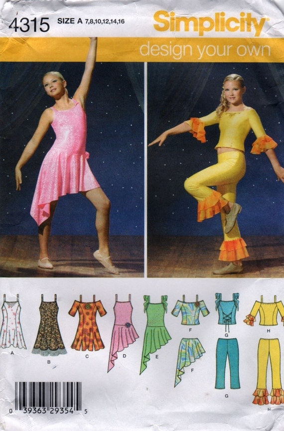 Simplicity 4315 Girls DANCE COSTUME Pattern Tops Pants Skirts Dresses for Knits Child Teens Sewing Pattern Size 7 - 16 Bust  26 - 34 UNCUT