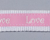 Key Fob - Pink and White LOVE Wristlet
