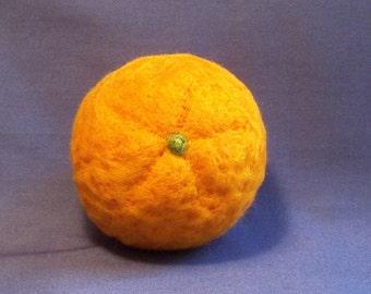 Orange - Needle Felted Fruit - Life Size - Needlefelt Orange - Felt Fruit - Home Decor - Felt Food - Soft Sculpture