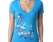 Womens Moose Seesaw T Shirt, Vintage Mustache Animal Shirt, Cool Frog TShirt, Turquoise, Available S M L XL XXL