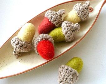 Felted wool acorn 9 olive coral yellow crochet woodlland nursery Birthday party garland ornament spring autumn fall Wedding favor decoration