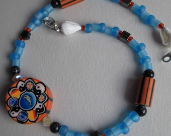 RIP TIDE Anklet With Dolphin Fimo Clay, Snowflake Obsidian, Bluestone, Hematite, Seashells, Swarovski Crystals & Sterling Silver OOAK