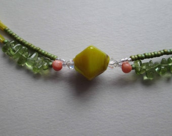 BAJA Anklet With Peridot Drops, Coral, Swarovski Crystals, India & Czech Glass, Sterling Silver, Twisted, Double-Stranded OOAK