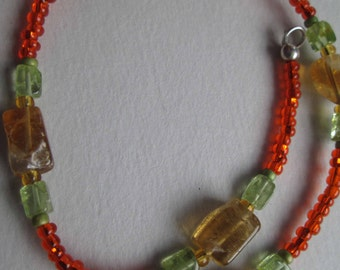 TANGY Anklet With Citrine & Peridot Semi-Precious Gemstones, Czech Glass Beads On Sterling Silver OOAK