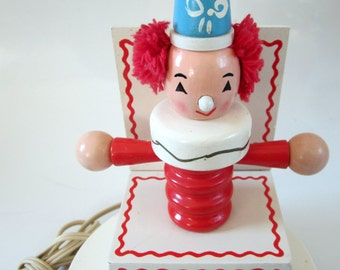 Vintage Nursery Plastics Clown Lamp Wood Hand Painted Electric Night Light Jack in the Box