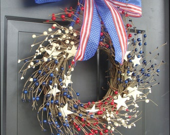 July 4th Decor, Fourth of July Wreath, July 4th Berry Wreath, Americana Patriotic Wreath, Americana Decor, Rustic Wreath, Primitive