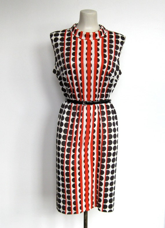 RESERVED FOR MARTA Vintage 1960s Parkshire Mod Op Art / Orange & Black Shift Dress