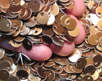 "100 Vintage Bronze Aluminum Stamping Blanks Mini 3/8"" Anodized Aluminum Discs Small Dark Caramel Gold Metal Tags Dangles Lightweight"
