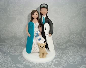 Custom Handmade Snowboard/ Ski Theme with a Dog Wedding Cake Topper