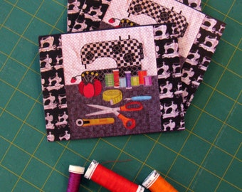 Art Quilt Note Cards - Set of 3 Cards - Still Life in Sewing Room