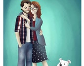 Custom Cartoon Couple Portrait Illustration  (Complex Style) -  Custom Portrait Couple, Custom Valentines day gift, Custom Anniversary Gift
