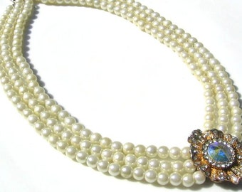 Vintage 1950 Rhinestone and Faux Pearl Necklace, wedding, bridal, special occasion
