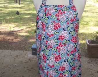 Womens Full Apron, 2 Pockets Apron, Retro Blue Spring Flowers Apron,  Red White and Blue Apron