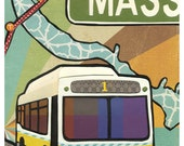 M is for Massachusetts Ave. - Cut paper illustration print FREE SHIPPING