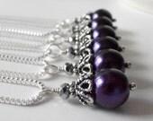 Set of 6 Dark Purple Pearl Bridesmaid Necklaces, Pearl Necklace, Concord, Bridesmaid Jewelry Sets,  Beaded Pendant Necklace, Lapis Weddings