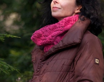 Hand knit leafy cowl knitted snood chunky neckwarmer wrap romantic women in raspberry pink Ready To Ship or CHOOSE YOUR COLOR - gift for her