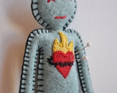 Rockin' Voodoo Doll - flaming heart break up doll  - love spells black magic - hand sewn -OOAK
