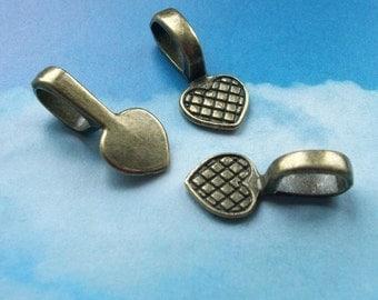 SALE - 20 heart shaped glue on bails, bronze tone, 21mm