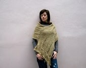 FRINGED PONCHO,Earth tone, hand knitted, unique, Southwestern Clothing