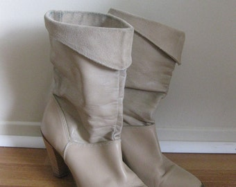 best vintage DINGO pirate boots SLOUCH tan stacked heels 8.5 VEGAN