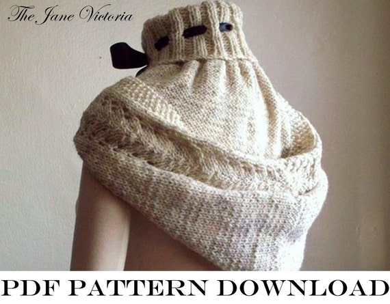 Knitting Pattern Hood Cowl : Hooded Cowl Knitting PATTERN Alasse Miriel PDF by ...
