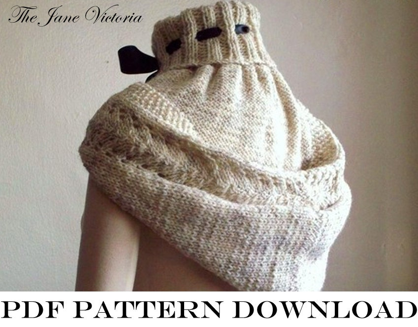 Hooded Cowl Knitting Pattern Ravelry : Hooded Cowl Knitting PATTERN Alasse Miriel PDF by TheJaneVictoria