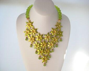 Acid - OOAK Chartreuse Acid Green Fantasy Flower Bib Statement Necklace and Earring Set, Runway Look