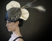Cream, Blue, and Grey Felt Hat - Juno Hat- Made to Order - pookaqueen