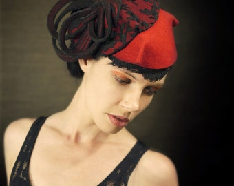 Red Hat With Black Lace - Aquatic Series - Made to Order