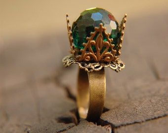 Emerald Green Vintage Ring Crystal Dome Brass Ornate Filigree  - The Emerald Crown. (Price reduced)