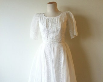Vintage 50s Heavenly Embroidered Chiffon Wedding Dress