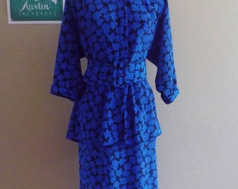 Vintage Black And Blue PATTERN Dress / 80s Blue Peplum Dress With Matching Belt / Womens Large Plus Size