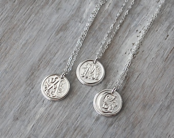Personalized Initial Necklace -  Custom Initial Wax Seal Initial with Sterling Silver Chain