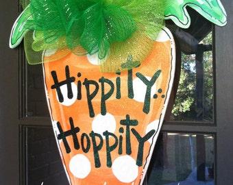 Hippity...Hoppity Carrot Door Hanger - Bronwyn Hanahan Art
