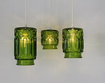 The hive mason jar pendant lights set of 3 hanging lighting green stars and moons 3 upcycled hanging pendant lighting fixtures made from vintage green glass mozeypictures Image collections