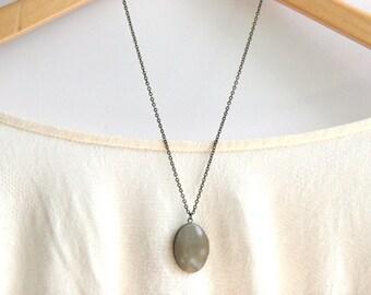 Grey Locket Necklace // Bridesmaid Gifts //  Vintage Wedding // Long Locket Necklace
