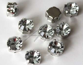 20 pcs of  6mm Faceted Round Sew On Crystal Clear Rhinestones W/Metal Prong..Lead Free, Nickel Free..Rhodium Plated Over Brass