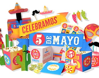 Mexico's Cinco de Mayo DIY printable party kit. Instantly download 21 PDF templates/patterns. Easy to assemble & make! by Happythought.