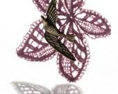 Lace necklace pendant, purple bird leaf pendant, vintage lace necklace, swallow swift bronze charm necklace, dark purple magenta pendant
