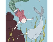 Mermaid Nursery Art -- Mermaid and Narwhal -- Under the Sea Art -- Girls Nursery Art -- Children's Art Print, Kids Wall Art