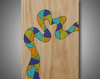 "11.25"" x 16.25"" - Modern  Abstract art on Pine - Original design - Wood burned - Prismacolor pencils  - ""First Try""  Contemporary decor"