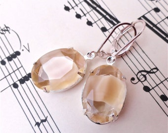 Creme Anglaise Earrings Crystal Rhinestone Cream Givre Rhinestones