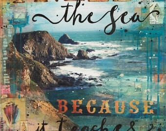 Need the Sea paper print - inspirational ocean word art